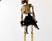 Miss Otis Regrets, Dressed Skeleton Halloween Decoration, Necklace,  Goth Jewelry,  Black Lace,  Black Fishnet, Skeleton with Skirt, Tutu