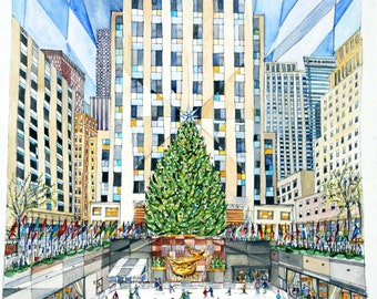 Renee Leone Travel Watercolor Rockefeller Center, New York City