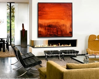 Large Original Abstract Framed Painting Modern Textured Square Oil Painting Amber Red Brown Abstract Art Gloss Contemporary Painting 37x37