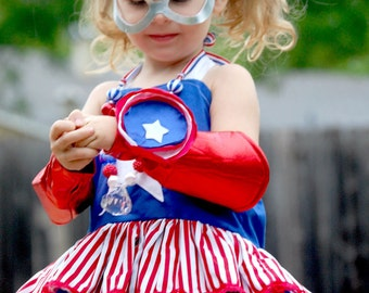 Captain America Costume Marvel Comic Ellie Top Dress Twirly Halter Party