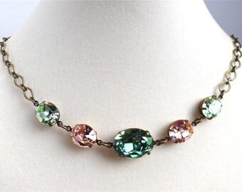 Custom Swarovski Crystal Bridal Necklace and Triple Drop Navette Earrings