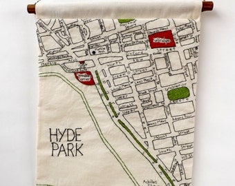 Marble Arch, Hyde Park and Oxford Street - London Hand Embroidered Detailed Decorative Map Wall Hanging, A3 Size