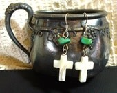 Earrings Beaded Cross Sterling Silver Mother-of-Pearl Turquoise