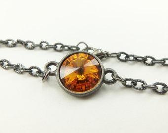 Citrine Birthstone Bracelet Crystal November Birthstone Jewelry Dark Chain Bracelet