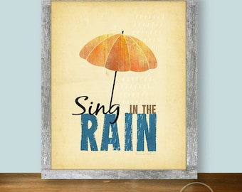 Sing in the Rain Umbrella Art Illustration - 8x10 Printable - April Showers Instant Download
