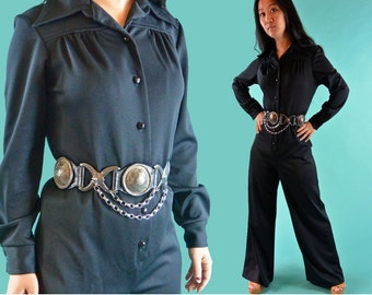 1970s Womens Jumpsuit / One Piece Jumpsuit 70s Vintage Palazzo Jumpsuit Disco Jumpsuit / Retro Mod Black Jumpsuit M / L