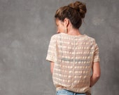 Striped t-shirt, woven striped t-shirt in silk gauze, transparent t-shirt, gold colored top