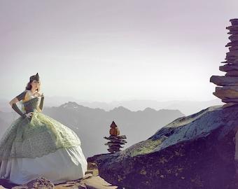 Custom Libra/Mount Rainier Ball Gown with Accessories | Mountain Fairytale Ball Gown | Fairie Costume | Fairy Cosplay | Parachute Dress