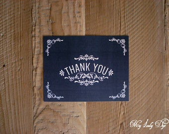 100 Vintage Chalkboard Thank You Note Cards - The Julie Collection - By My Lady Dye