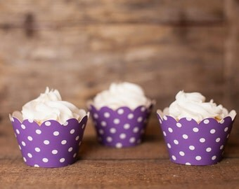 24 Purple Polka Dot Cupcake Wrappers - Purple Cupcake Wrappers - Great for Birthday Parties, Baby Showers & Bridal Showers
