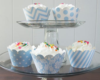 12 Light Blue Cupcake Wrappers - PICK YOUR PATTERN - Blue Cupcake Wrappers - Great for Birthday Parties, Baby Showers & Wedding Receptions