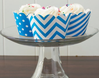 12 Aqua Blue Cupcake Wrappers - PICK YOUR PATTERN - Blue Cupcake Wrappers - Great for Birthday Parties, Baby Showers & Wedding Receptions