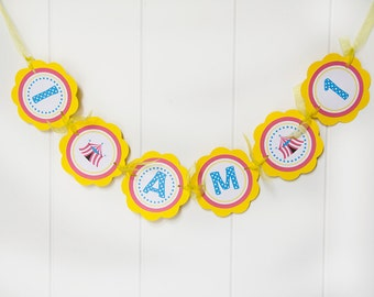 Circus Birthday Party Decorations - I am 1 MINI BANNER - Carnival Happy Birthday Party Sign - Circus Tent Decorations - Carnival Birthday