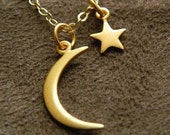 Vermeil Crescent Moon and Star Necklace on 14kt Gold Filled Chain