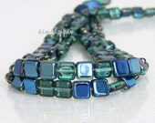 Square Teal-Blue Iris Czech Glass Beads 6mm 25