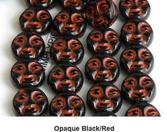 Moon Face Black Red Inlay Czech Glass Beads 9mm 20