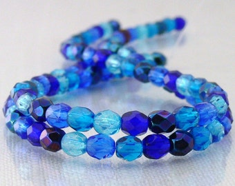 Deep Blue Sea, Czech Beads Fire Polished 4mm 50 Faceted Round GLass