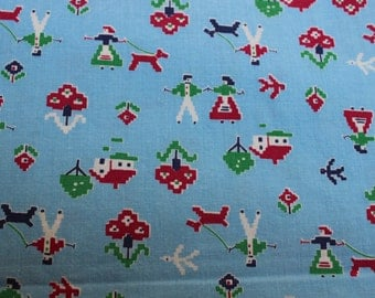 """Juvenile Cotton Fabric Blue Country Dog Novelty 35"""" width 2 yards VINTAGE by Plantdreaming"""