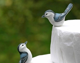 Handmade White Breasted Nuthatch Love Birds Cake Topper