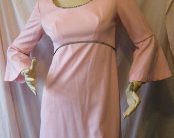Pink Passion vintage 1960s Mini hostess dress With Rhinestones and Bell Sleeves Medium