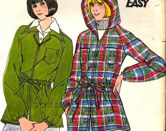 Vintage 1970s Zip Front Hooded Jacket Pattern Drawstring Waist Patch Pockets 1974 Butterick 3864 Bust 32.5