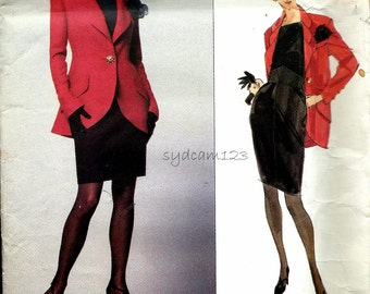 1991 Karl Lagerfeld Triple Lapel Jacket and Skirt Pattern High Waisted Pencil Skirt Below Hip Jacket 1990s Vogue 2788 Bust 31.5 to 34 UNCUT