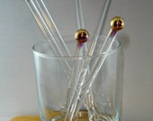 Glass and 24k Gold Cocktail & Coffee Stir Sticks Swizzle Sticks Handmade Lampwork Great Wedding or Corporate Gift (Set of 4) Free Shipping