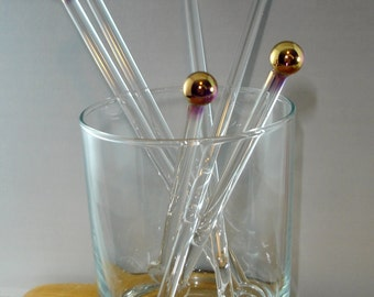 Glass Swizzle Sticks 24k Gold Cocktail & Coffee Stir Sticks  Handmade Lampwork Great Wedding Anniversary or Corporate Gift (Set of 4)