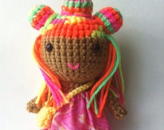 Brown skin doll, cute toy, Handmade crochet doll, unique doll, Bright multicolored hair, ready to ship