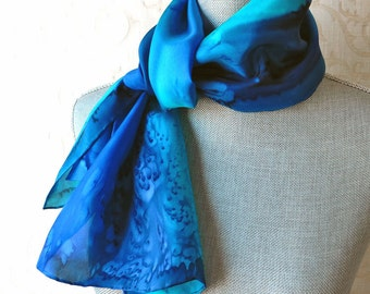 Silk Scarf Hand Dyed in Sapphire, Aqua and Midnight Blue