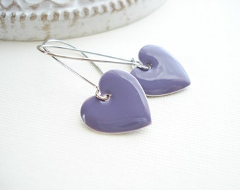 Heart Dangle Earrings Choose Your Color Blue Rainbow Earrings Mint Green Purple Caramel Butterscotch St Valentine's Day Gift For Her