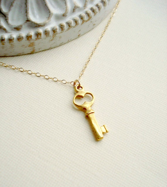 Gold Key Necklace Small Key To My Heart Necklace Key Pendant