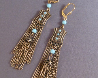 Grecco Roman Earrings Classical Style Turquoise OOAK Vintage Assemblage Swinging Chains Lots of Movement and Length Lever Backs
