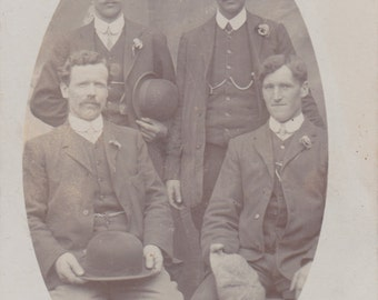 Vintage Real Photo Postcard - Group of Men Holding Their Hats