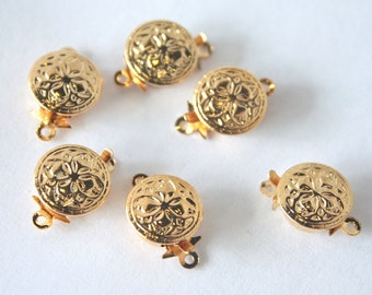 12 Vintage 1970s Round Gold Plated Filligree Push Clasps// 1 Strand// New Old Stock// 12 Pieces