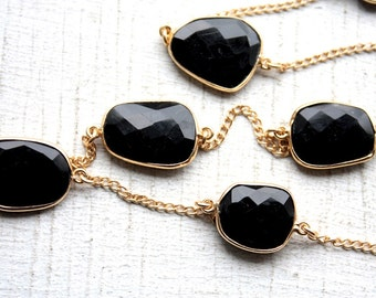 1 Foot Faceted Bezel Set Black Onyx Gemstone Chain // Gold Chain // Onyx Unfinished Chain