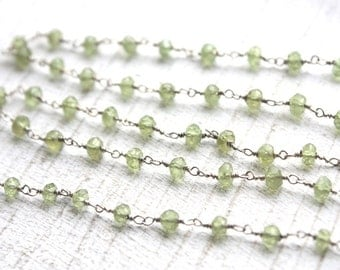 6 feet Faceted Peridot Gemstone Chain // Sterling Silver Chain // Green Stone Jewelry Chain