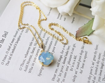 Blue Opalescent Crystal Necklace Swarovski Air Blue Opal Square Gold Pendant