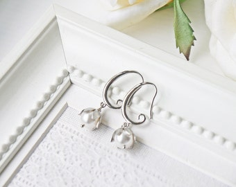 White Pearl Silver Earring Matte Silver Cream White Lily Of The Valley Flower Wedding Earrings