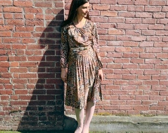 1970s Dress - Vintage 70s Wild Blueberries Bronze Leaf Peasant Dress - M