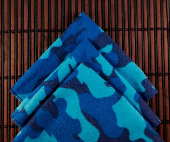 Large Flankie - Light and Dark Blue Camo Flannel Handkerchiefs - Set of 3