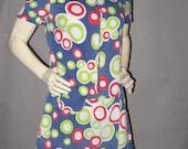 Mod Vintage 60s Corduroy CIRCLES Scooter Skirt Mini Dress Jumper Romper Onesie Zip Front Drop Waist Mod 1960s