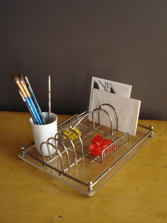 Toast rack desk set vintage acrylic and stainless steel - Acrylic desk organizer set ...