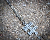 Autism Awareness Necklace - Words Puzzle Piece - Last one!