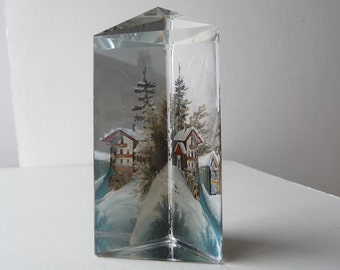 Snowy Alpine Prism - Antique Handpainted Glass Snow Scene