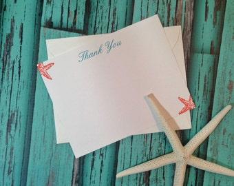 Wedding Thank You Stationery, Beach Stationery, Beach Thank You Note, Starfish Thank You Note