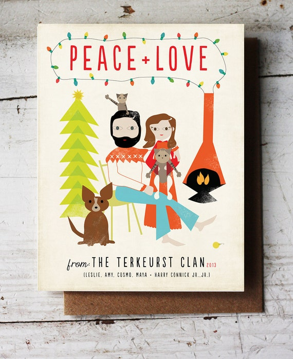 Custom Illustration Holiday Greeting Card Modern Family