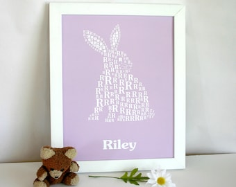Personalized Children's Alphabet Poster - Children's Modern Typographic Art - Easter Rabbit Decor