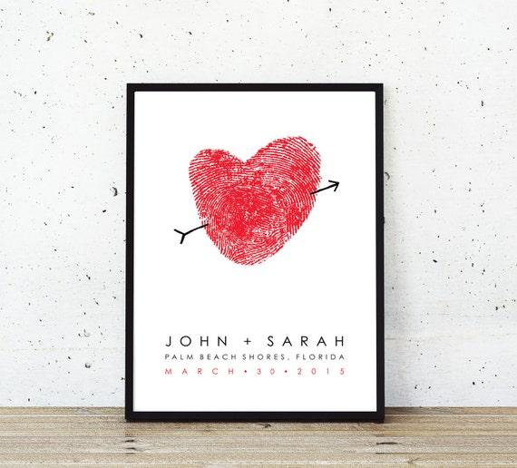 Unique Wedding Guest Book Custom Thumbprint - Wedding Gift or Fingerprint Heart Wedding Poster