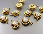 4 unique 4.5mm cz cubic zirconia in brass setting charms for jewelry / jewellery necklaces, bracelets 907-BG (bright gold, 4 pieces)